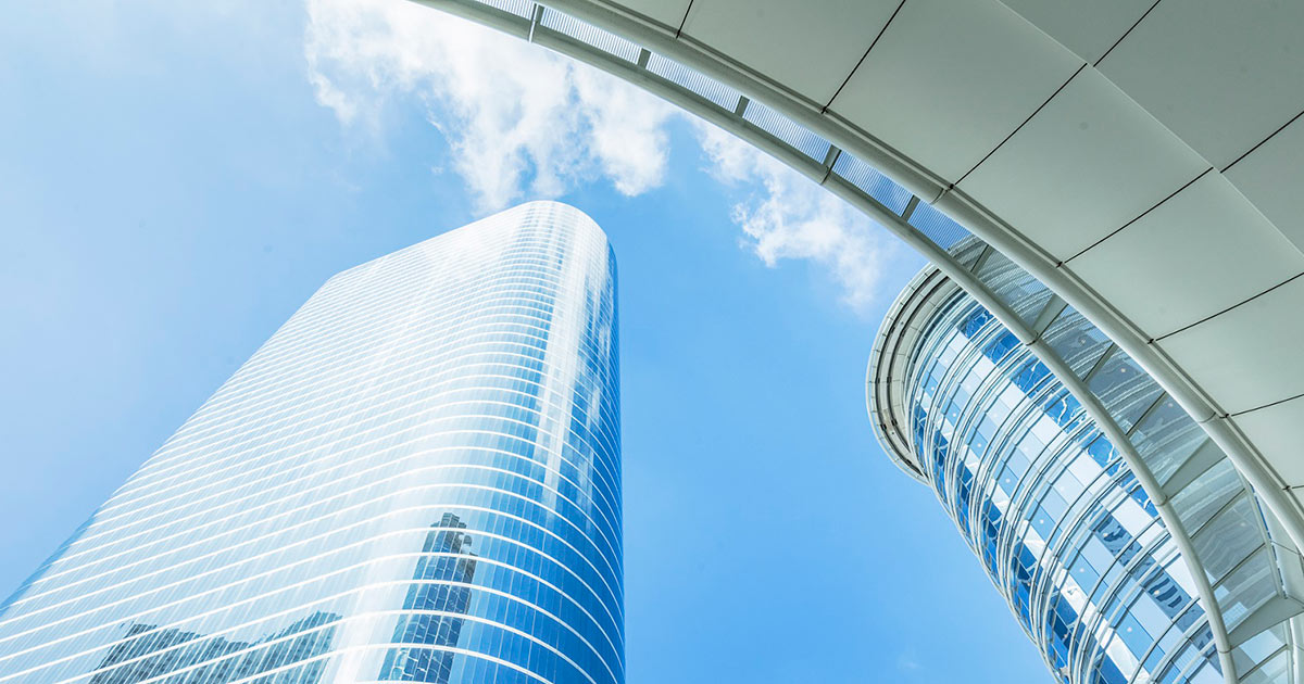 Skyscrapers with blue sky background in Houston, city